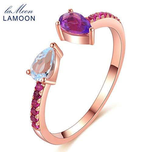 CNluca For Anillo de amatista natural de topacio 925 plata esterlina mujeres color oro rosa RI043 anillo de tamaño variable...