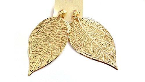 Clip-on Earrings Lined Leaf Dangle Earrings Gold Tone Clip Earrings