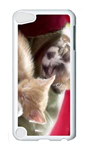Ipod 5 Case,MOKSHOP Awesome sleeping kitten puppy Hard Case Protective Shell Cell Phone Cover For Ipod 5 - PC White