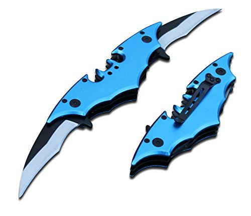 Batman Bat Folding Dual Twin Double Blade Spring Assisted 5 Colors Pocket Knife Tactical Belt Clip Black Yellow Silver Blue Red Knives (Blue)