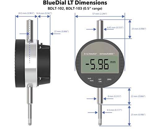 Motionics BDLT-103 BlueDial Bluetooth Dial Indicator Lite 0.001mm Resolution 12.7 mm Range