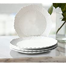 Dinner Plates 10.5 Inch Accent Serving Plates Set 4, Scalloped Embossed Porcelain Bone China, Mothers Day Gift, White