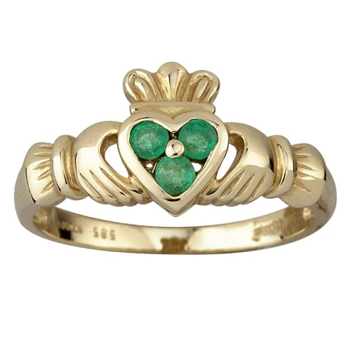 Solvar 14K & 3 Emerald Heart Claddagh Ring / Size 4