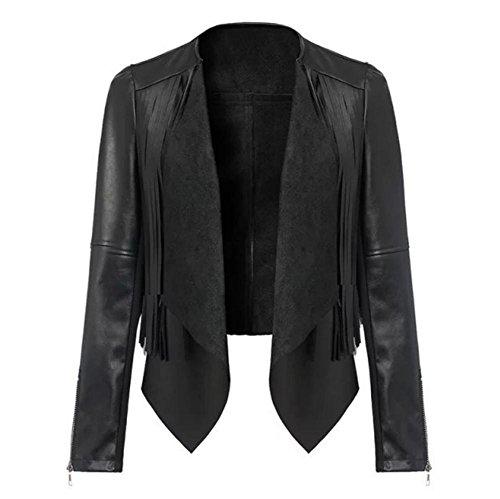 High-end women's fashion fringe stitching slim t long sleeve motorcycle leather jacket , black , l