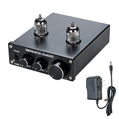 SENUCN-AUDIO Tube-T1 Preamplifier, 6J1 Vacuum Tube Amplifier Buffer Mini Hi-Fi Stereo Preamp with Treble & Bass Tone Control for Home Audio Player by SENUCN-AUDIO