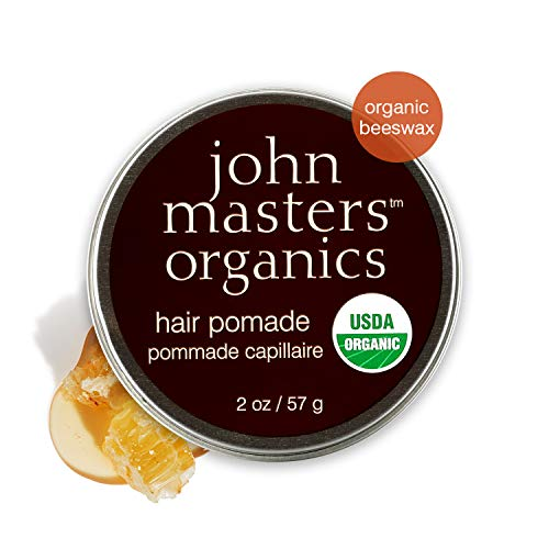 - John Masters Organics - Hair Pomade - USDA Certified Organic All Natural Hair Styling Product for Men & Women, Heat Protectant with Beeswax & Mango Butter - Petroleum Free - 2 oz