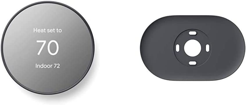 Google Nest Thermostat - Smart Thermostat for Home - Programmable Wifi Thermostat & Trim Kit - Made for the Nest Thermostat - Programmable Wifi Thermostat Accessory - Charcoal