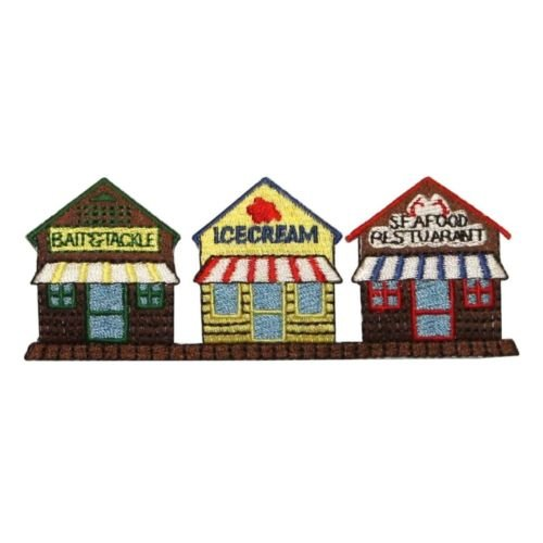 ID 1291 Downtown Store Front Patch Fishing Village Embroidered Iron On Applique for Accessories - Bags/Purses, Apparel - Coat/Jacket, Apparel - Jeans/Pants, Children, Crafts by - Stores La Downtown