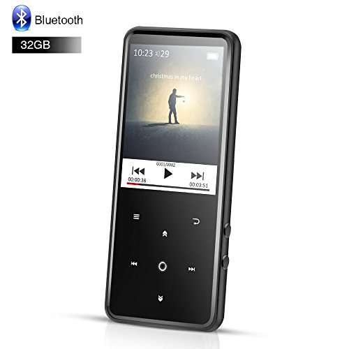 AGPTEK 32GB MP3 Player Bluetooth 4.0 with 2.4 Inch TFT Color Screen, FM/Voice Recorder Lossless Sound Touch Button Music Player, Support Up to 128GB, Black(C2H) by AGPTEK