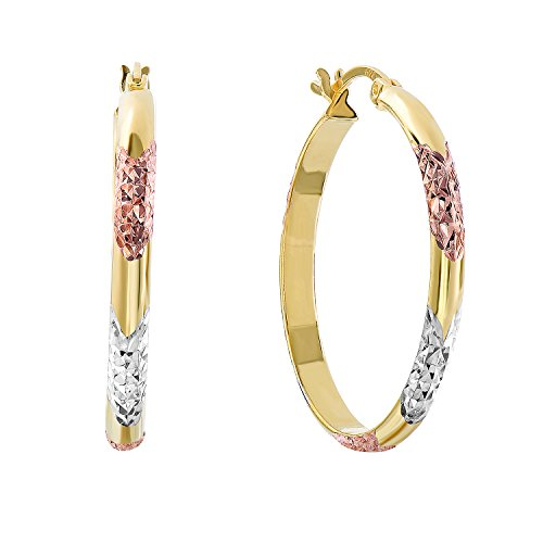 (Sterling Silver Tri-Color Diamond-cut Hoop Earrings, 1.1'' Diameter )