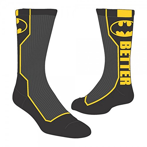 [DC Comics Batman with Logo and Text Active Performance Crew Socks (with Gift Box)] (Batman Dress Socks)