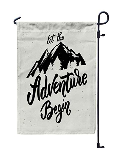 Musesh Baby Yard Flag,Let Adventure Begin Drawn Lettering White Background Design Element Poster Card for Home Outdoor Decorative with Double-Sided Printing (A Kind Of Flower That Begins With D)