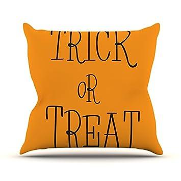 Kess InHouse Kess Original Trick or Treat Halloween Throw Pillow Black 18 x 18