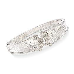Diamond Cluster Bangle Bracelet in Sterling Silver