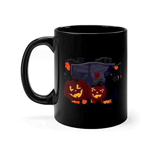 Halloween Scene Jack Lanterns And Kitty Funny Mug 11 Oz Ceramic -