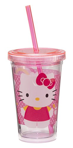 Vandor 18014 Hello Kitty 12 oz Acrylic Travel Cup with Lid and Straw, Pink