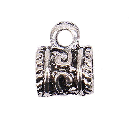 Monroccov 100pcs Antique Tibetan Silver Bail Tube Beads - 12 x 9mm​ - Round Connector with Loop Barrel Curved Hole Tube Spacer for Jewelry Making
