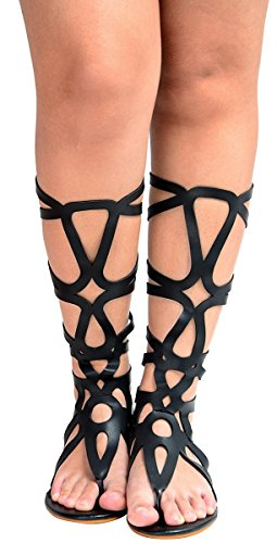 Odema Women's Roman Cut Out Knee High Strappy Gladiator Thong Sandals (Black High Heel Thong)