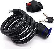 Maveek Bike Lock 1.2M (4-Feet) Steel Coiled Cable Lock with Intergrated Key Lock for Bicycle Outdoors