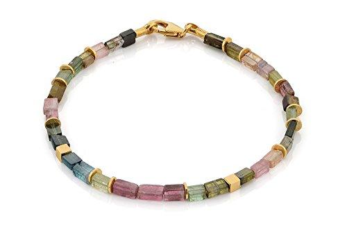 skielka designschmuck Tourmaline Bracelet (Argent 925, plaqué or) coloré Tourmaline-avec Expertise