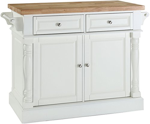 Crosley Furniture Kitchen Island with Butcher Block Top - White from Crosley Furniture