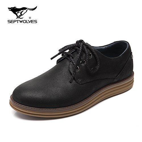 Aemember Scarpe Uomo scarpe scarpe Autunno e Inverno tute spesse scarpe Testa tonda cinturino Scarpe Casual uomini e ,43, nero
