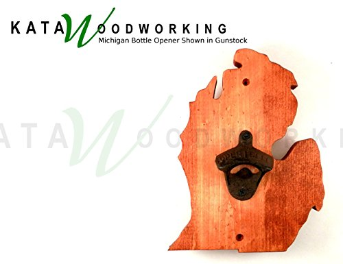 Michigan Lower Peninsula Shaped Wood Cut-out Bottle Opener – Wall Mount – Handmade For Sale