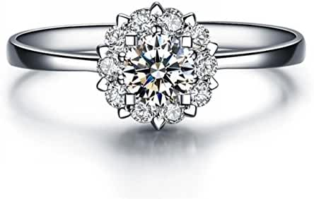 Siarola Cubic Zirconia 18K White Gold Plated Women Snowflake Finger Ring R50