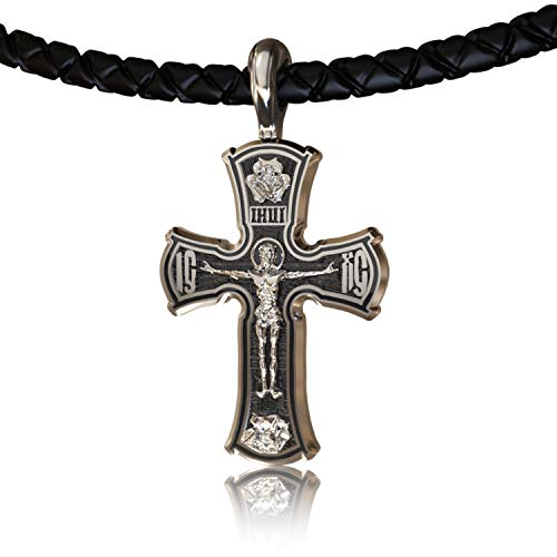 (EVBEA Cross Necklace for Men Viking Celtic Serenity Prayer Pendant Silver Tone Crucifix Mens Jewelry with Black Genuine Leather Cord Chain)