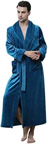 Winter Warm Velvet Plush Robe for Women and Men,Solid Thicken Bathrobes Gown Pajamas Sleepwear Pocket Waistban