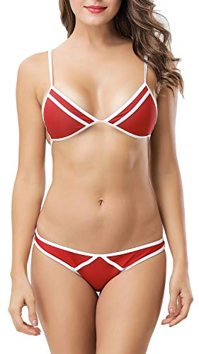 X-Fit Sports Women Triangle Bikini Set Sexy Brazilian Cheeky Bottom Swimwear Two Pieces Swimsuit(Red 2, L)