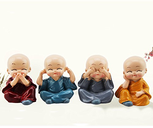 Longpro Creative Priestling Decoration Four Small Monk Lovely Doll Car Accessories Sitting Room Desktop Resin Furnishing Articles (Zen)