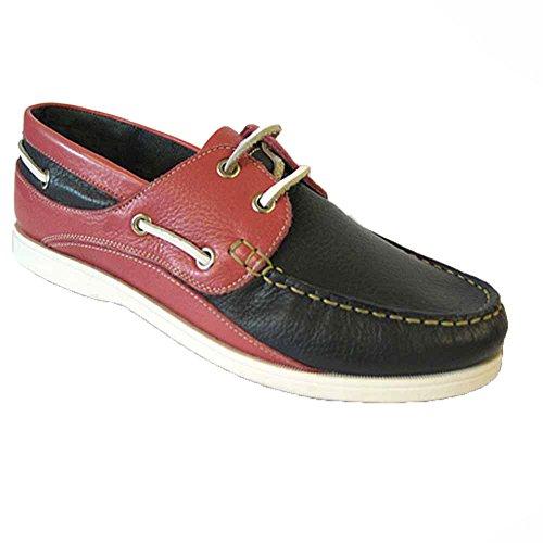 Seeleute Segler Damen Deck Boots Schuhe Nubuk Leder, Gr. 37 Navy/Pink
