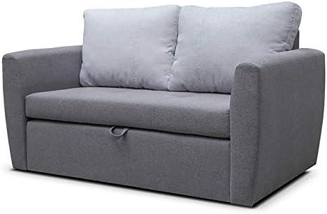 E Meubles Petit Canapé Lit Convertible Salon Chambre D Ado Tissu Structure De Tresse Sara 120 Gris Foncé