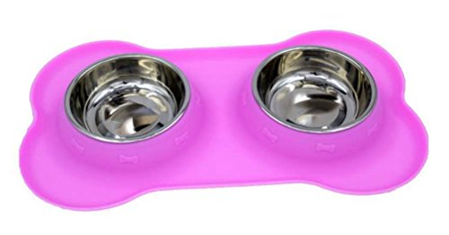 Freerun Stainless Steel Dog Bowls with No Spill Non-Skid Silicone Mat Feeder Bowls Pet Bowl for Dogs Cats (Purple) (Closest Market Basket)
