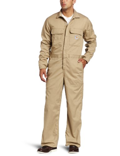 Carhartt Men's Flame Resistant Classic Twill Coverall,Khaki (Closeout),38 Short by Carhartt