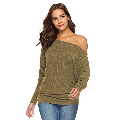 Zumine Off Shoulder Sweater Long Sleeve Loose Knit Pullover Sweater (S, Green)