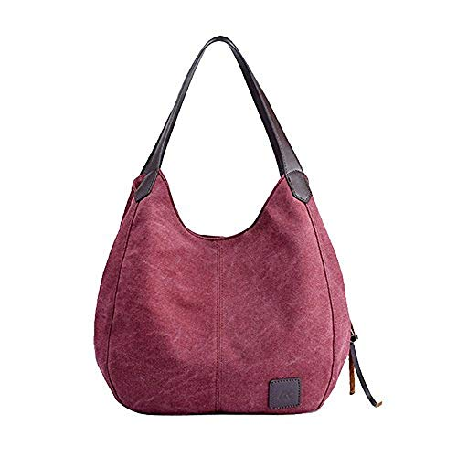 Women's Vintage Hobo Canvas Daily Purse Top Handle Shoulder Tote Shopper Handbag ()