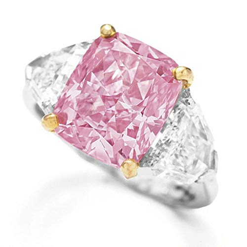 Rings for Women Exquisite Diamond Geometric Round Edge Square Ring Ladies Jewelry Gift (Pink, - Milgrain Wedding Ring Edge