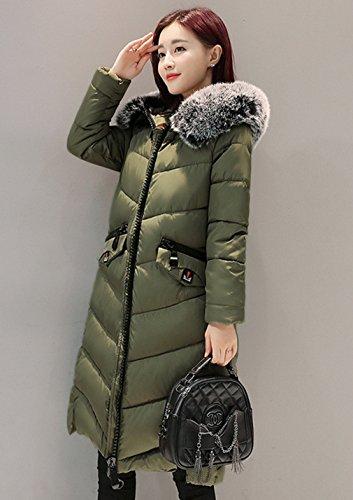 Coreano Comvip Trapuntata Soffiatore Verde Donna Collo Pelliccia Lungo Giacca Di Coat qwUXrqB