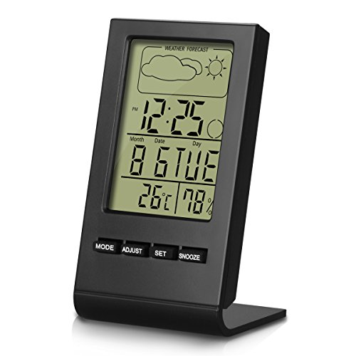 BonyTek Indoor Humidity Meter,Temperature and Humidity Monitor,Digital Hygrometer Thermometer Monitor,LCD Alarm Clock Calendar and Home Weather Station - Black