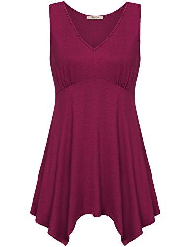 Empire Waist Silk Tunic - Summer Tops for Women,Bebonnie Womens Sleeveless V Neck Empire Waist Casual Maroon Shirt Tunic Tank Tops Magenta XL