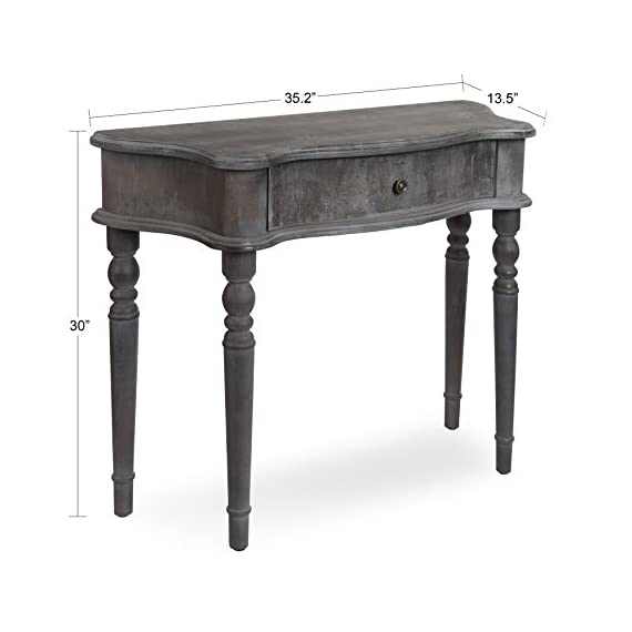 Kate and Laurel Yamin Country French Wood Console Table with Drawer, Slate Blue - ELEGANT FRENCH COUNTRY STYLE: The Yamin Console Table is a fashionable French provincial accent that creates charm in your home. The lovely bluish gray distressed finish adds to the overall vintage look while the tapered spindle legs create that sense of french elegance VERSATILE SIZE: This table has enough surface space to fit a collection of photo frames or several of your favorite home decor items. The overall dimensions are 35.25 inches wide by 13.5 inches deep and it stands 30 inches tall ADDS STYLISH FUNCTIONALITY: Place it in an entryway, hallway, living room, bedroom or any room in your home where you want a truly pretty piece with purpose - living-room-furniture, living-room, console-tables - 41rxmwyyubL. SS570  -