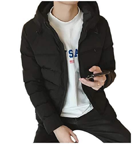 Howme Hoode Coat Black Short Zips with Pocket Down Fit Men Loose Casual rqw6r7Y