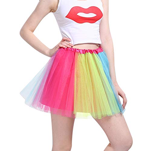 Women's Classic 3-Layered Tulle Tutu Ballet Skirts Ruffle Pettiskirt for Customes Cosplay Dress up (One Size, A_Colorful) ()