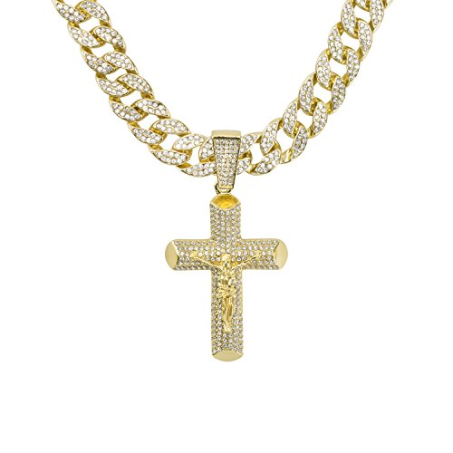 Crucifix Pendant on 15mm Gold Plated Cuban Link Chain Covered in Simulated Diamond Crystals ()