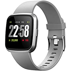 H4 Fitness Health 2in1 Smart Watch for Men Women Smartwatch with All-Day Heart Rate Monitor Activitity Tracker IP67 Waterproof Bluetooth Running Sports Pedometer Watch for Android & iOS phones (Gray)