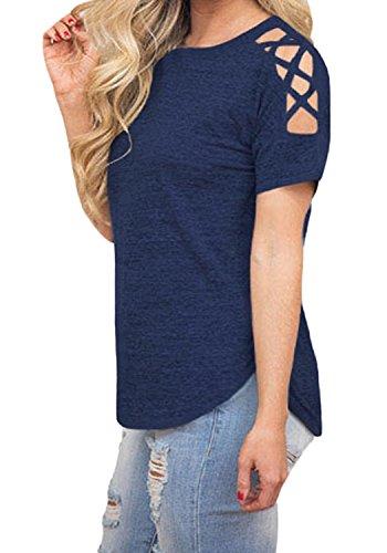 BLUETIME Womens Cold Shoulder Criss Cross Tops Short Sleeve Summer Tees T-Shirt Blouses