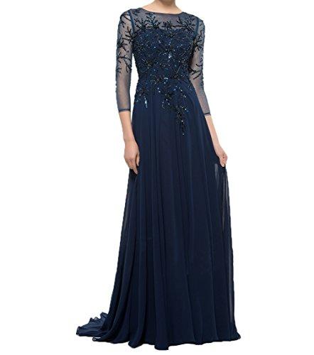 Neu Promkleider Langarm Abendkleider Navy Blau Partykleider Damen Chiffon Charmant Mit Festlichkleider Brautmutterkleider Elegant q8v1SnwYx