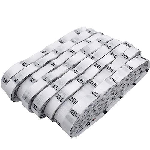 Renashed 4000 Polyester Cloth Size Label Shirt Garment Tags Each Size 500Pcs (White)